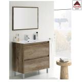 Mobile bagno moderno rovere in legno set con specchio 2 cassetti sotto lavabo