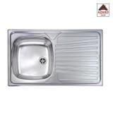 Lavello inox cucina 1 vasca dx e gocciolatoio cm.80x50 ad appoggio