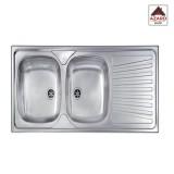 Lavello inox cucina 2 vasche dx e gocciolatoio cm.120x50 ad appoggio