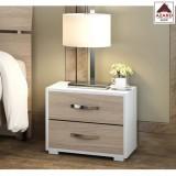 Comodino camera da letto cameretta moderno 2 cassetti bianco olmo kit in legno