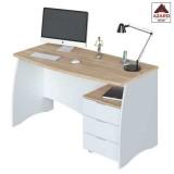 Scrivania ufficio studio moderna bianca porta computer pc in legno 3 cassetti