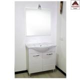 Mobile da bagno con lavabo a terra e specchio bianco in legno set completo