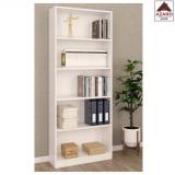 Libreria moderna bianca scaffale 4 ripiani design in legno cameretta soggiorno