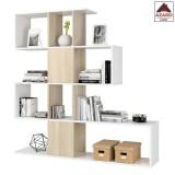 libreria moderna bianca rovere scaffale kit mobile divisorio mensola soggiorno