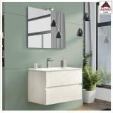 Mobile bagno sospeso sottolavabo moderno bianco con 2 cassetti lavabo e specchio