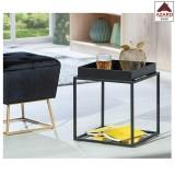 Tavolino salotto moderno design nero tavolo basso da divano caffè in metallo