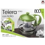 Teiera con filtro in vetro 800 ml infusore thè tisane caraffa colori assortiti