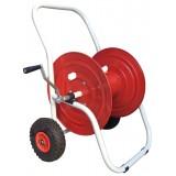 Carrello avvolgitubo professionale in acciaio zincato con ruote x mt.50 x tubo 25/30