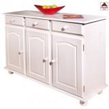 Mobile credenza madia buffet shabby 3 cassetti in legno massello bianco 87h