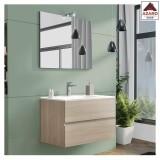 Mobile bagno sospeso sottolavabo moderno rovere con 2 cassetti lavabo e specchio