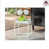 Tavolino salotto moderno design bianco tavolo basso da divano caffè in metallo