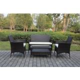 Salotto divano poltrone da giardino in polirattan 4 tavolo + poltrone + cuscini