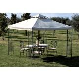 Gazebo giardino in metallo decorato 3x3 mt top ecru con air vent