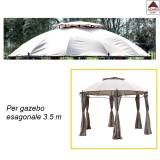 Telo ricambio gazebo esagonale con air vent 3.5 copertura impermeabile giardino