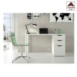 Scrivania ufficio moderna bianca lucida reversibile 3 cassetti porta computer pc