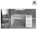 Scrivania ufficio moderna bianca con 3 cassetti scrittoio porta computer pc