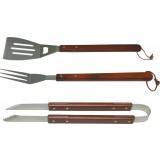 Set 3 pezzi manico legno per barbecue accessori