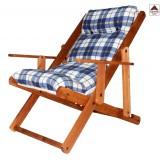 Poltrona sedia sdraio relax reclinabile legno 3 posizioni imbottita pieghevole