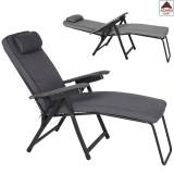 Sedia sdraio pieghevole imbottita poltrona reclinabile poggiapiedi relax grigia