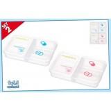 Porta pillole set 2 pezzi 9 x 6 cm 3 scomparti cura persona casa medicine case