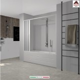 Parete per vasca da bagno box doccia sopravasca a nicchia soffietto in pvc 170cm