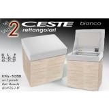Set 2 pezzi cesta cesto porta biancheria moderno rettangolare bianco