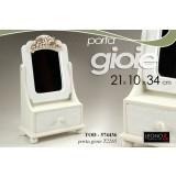 Portagioielli porta gioie gioielli scrigno c/ specchio 21 x 10 x 34 col. bianco