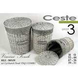 Set 3 Ceste Portabiancheria Laundry Tonde In Vimini Grigio