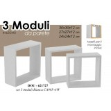 3 mensole rettangolari cubo h 30-27-24 scaffale componibile moderno