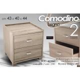 Comodino In Legno Rovere 2 Cassetti 43x40x44 Cm Shabby Chic