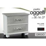 Mobile Comodino In Legno Grigio 30x16x27 Cm Design Shabby Chic