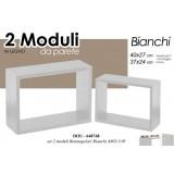 Set 2 mensole rettangolari in legno 40x27/37x24 cm componibili