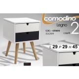 Mobile Comodino Cassettiera In Legno Bicolore 2 Cassetti 29x29x45 Cm Moderno