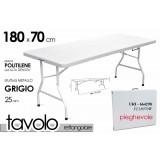 Tavolo campeggio in resina metallo in valigetta richiudibile cm 180x70 picnic