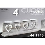 Porta candela 4 posti struttura in legno cuore 44x11x13 cm