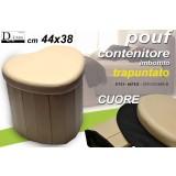 POUF CONTENITORE IMBOTTITO TRAPUNTATO BEIGE CUORE 44X38 CM