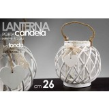 Lanterna porta candele bianca intreccio bambu base tonda 26 cm