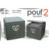 Pouf contenitore grigio quadrato in tessuto porta biancheria set 2 pezzi