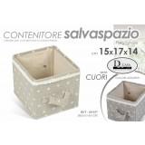 Box scatola 15x17x14 cm beige/tortora pieghevole c/manici fantasia cuori