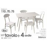 Set tavolo tavolino e 4 sedie struttura ferro piano legno rifinito