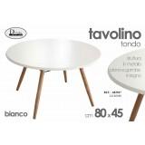 Tavolino tavolo tondo bianco 80x 45 cm in metallo con piano e gambe in legno