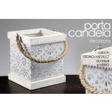 Porta candela struttura in legno/metallo decorato 18x22 cm con manico