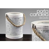 Porta candela struttura in legno/metallo decorato 16x21 cm con manico