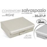 Box contenitore morbido salva spazio c/coperchio 35x27x9 beige/tortora