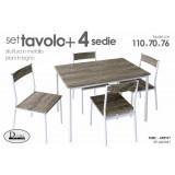 Set tavolo con quattro sedie metallo legno cm 70 x 110 x 76 h