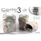 Set 3 ceste ovali in tessuto portatutto con manici fantasia fiori