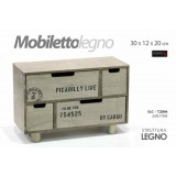 Brickea mobiletto in legno portaoggetti cassetira 4 cassetti 30x12x20 -722004