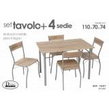 Set tavolo con 4 sedie legno 110x70x74 cm.