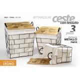 Set 3 ceste portabiancheria tessuto rettangolari metallo nero coperchio in legno