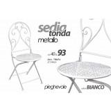 Sedia tonda metallo h93x40 bianca pieghevole giardino esterno interno